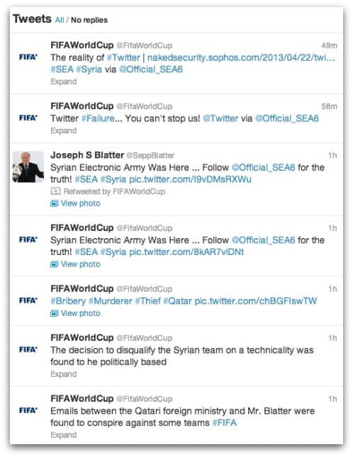FIFA account hijacked, tweets posted by hackers