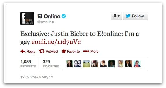 E! Online has its Twitter account hacked