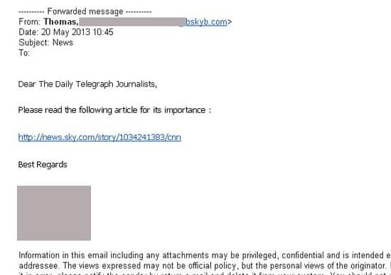 Phishing email sent to Telegraph journalists