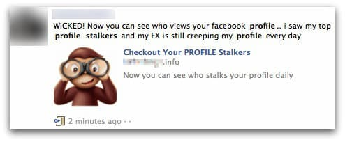 Profile stalking Facebook scam