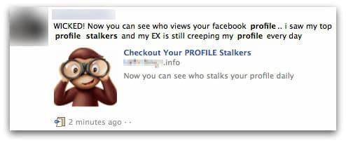 Profile stalking Facebook scam