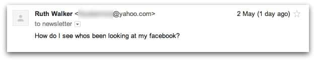 Email from Ruth about Facebook