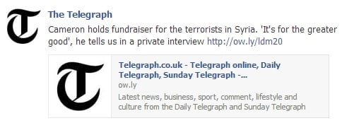 Telegraph hacked on Facebook