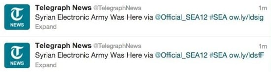 Telegraph hacked on Twitter
