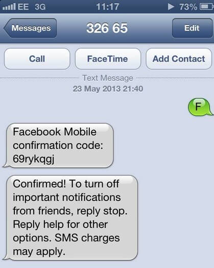 Facebook confirmation SMS