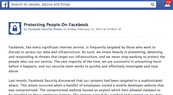 Facebook malware attack announcement