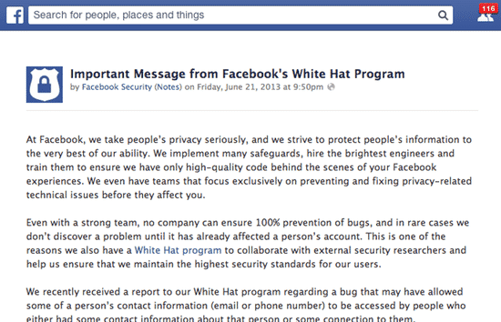 Facebook privacy breach announcement