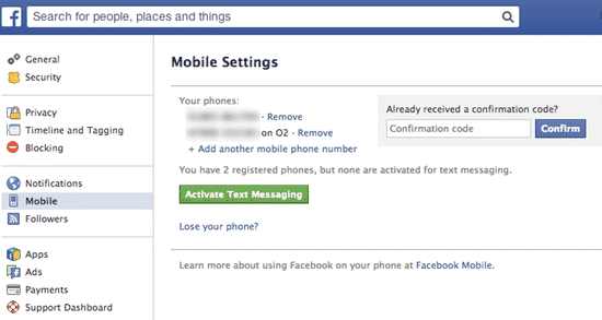 Facebook mobile activation form