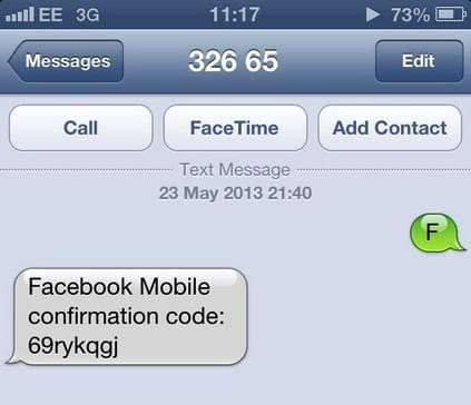 Send an SMS to Facebook