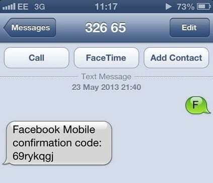 Send an SMS to Facebook