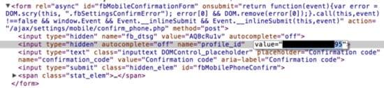 Profile ID parameter inside form