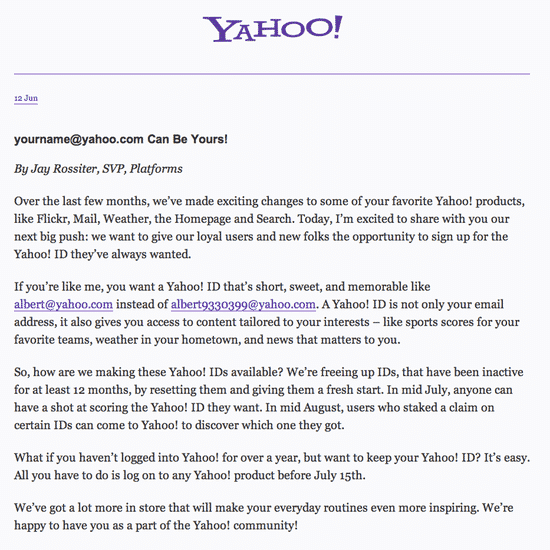 Yahoo announcement