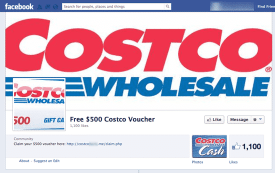 Fake Costco Facebook page