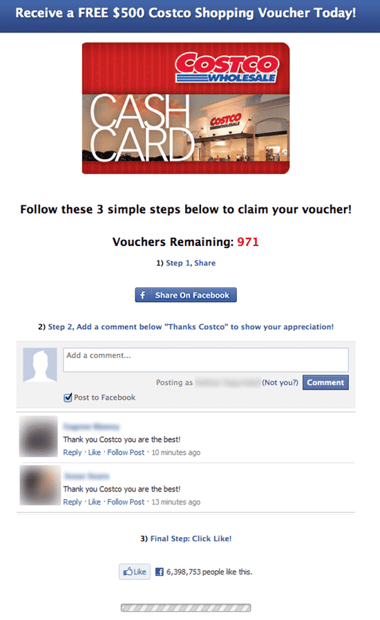 Facebook scam page related to Costco
