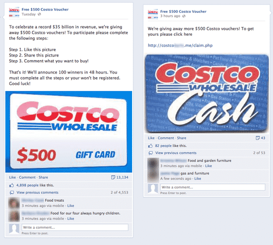 Fake Costco Voucher posts
