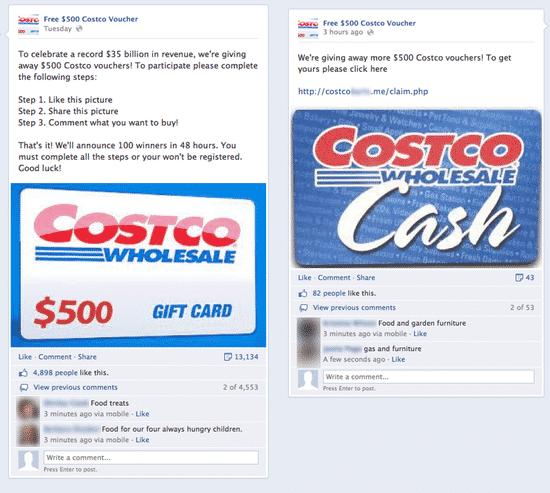 Fake Costco Voucher posts