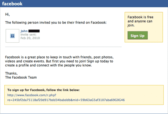 Facebook invitation reminder email