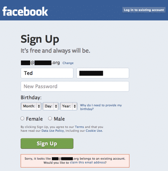 Facebook signup page