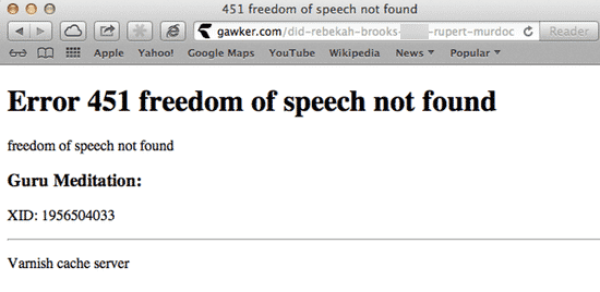 Freedom of speech error message on Gawker