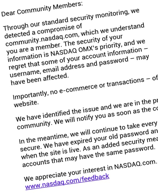Email from NASDAQ