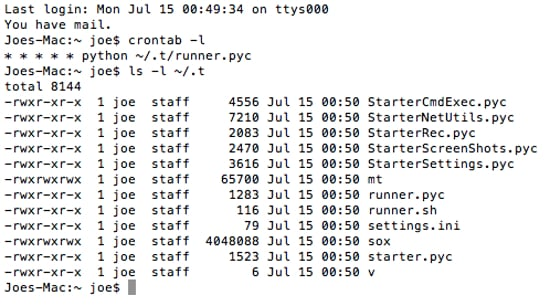Python code and Sox. Image courtesy of F-Secure