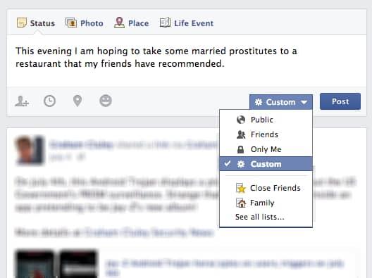 Status update privacy setting