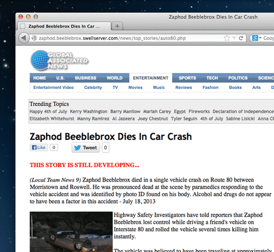 Justin Bieber Car Crash Death