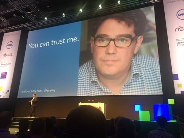 Graham Cluley speaking at Microsoft Future Decoded, Nov 2015