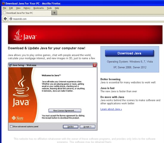 Fake Java download