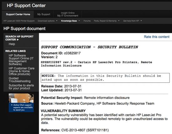 HP Security advisory