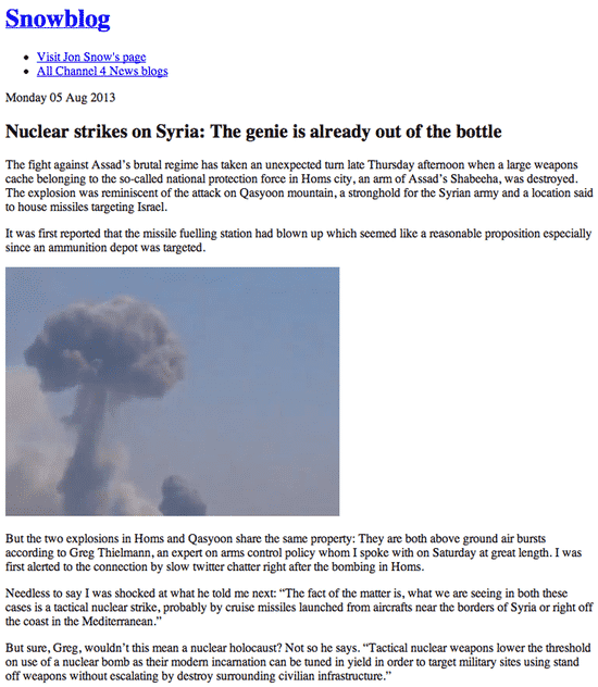 Hackers posted a story about a tactical nuclear strike