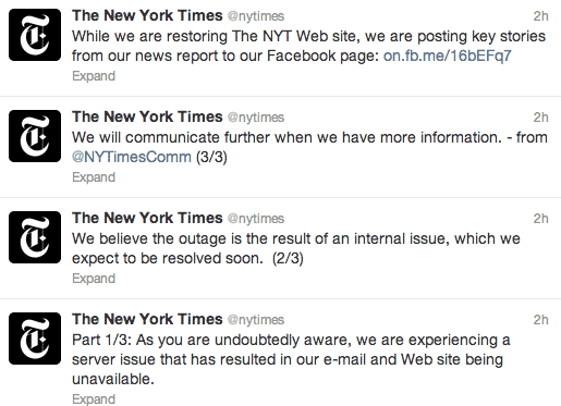 New York Times tweets about outage
