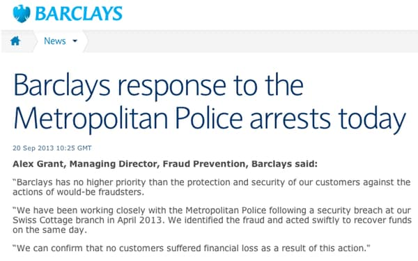 Barclays statement