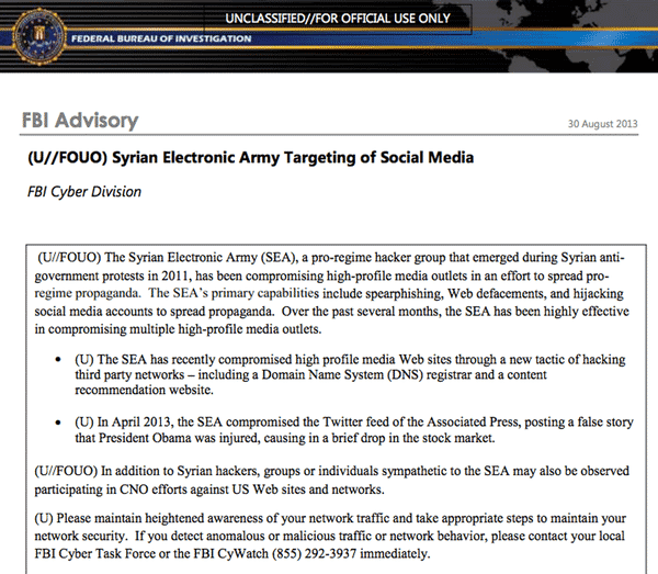 FBI advisory on Syrian Electronic Army