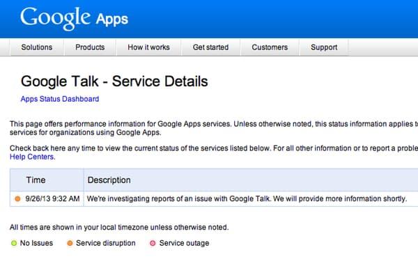 Google Talk service details