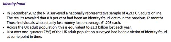 ID Fraud statistics in National Fraud Indicator report