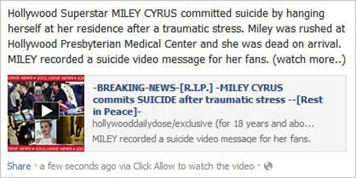 Miley Cyrus Facebook scam