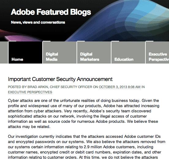 Adobe announcement