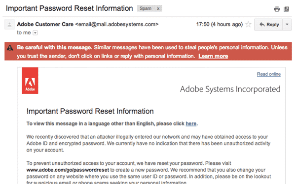 Adobe email warning