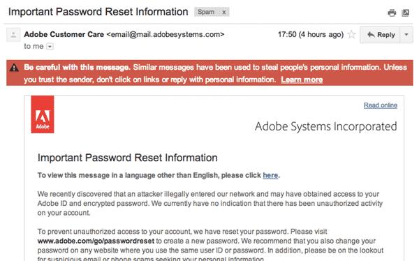 Adobe email warning
