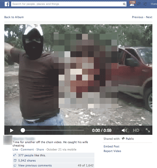 Beheading video on Facebook