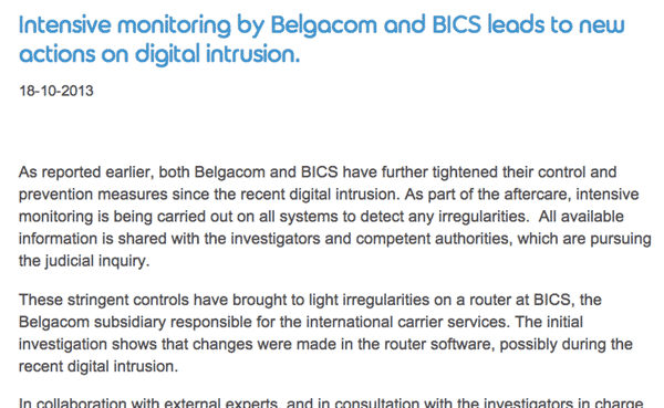 Belgacom announcement