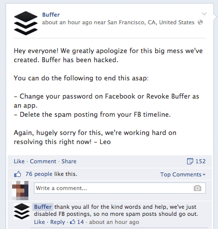 Buffer posts an update on the incident on Facebook