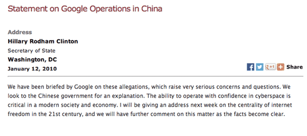 Clinton statement on China hacking Google, 2010