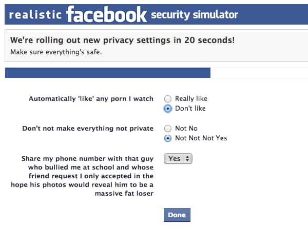 Facebook security simulator