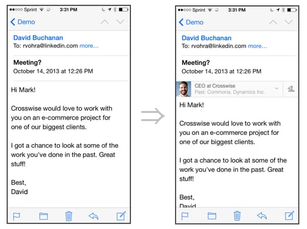 The iPhone Mail app, before and after LinkedIn Intro