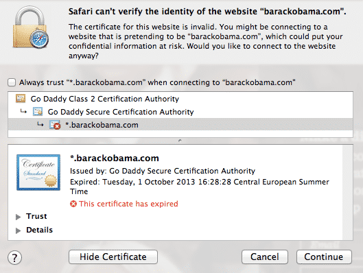 Barack Obama SSL warning