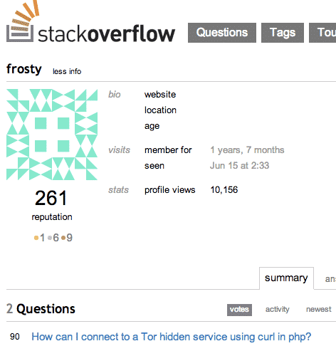 Stackoverflow profile for Frosty