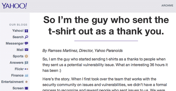 Yahoo bug bounty