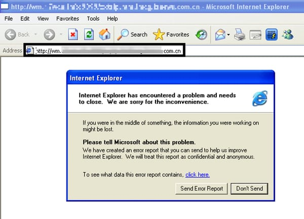 Internet Explorer crash, malware is installed